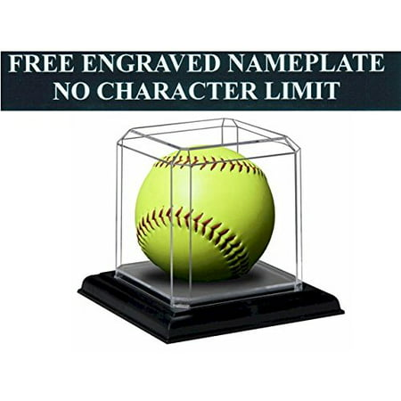 """Softball Personalized Engraved Acrylic Display Case with Beveled Edges and Removable Black Base for an 11"""" or 12"""" Ball"""