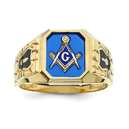 10k Blue Acrylic Men's Masonic Ring