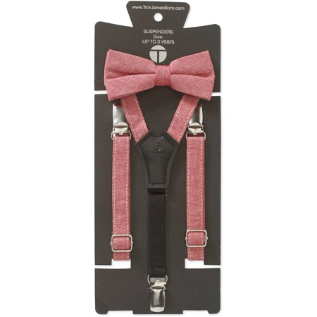 Genevive Goings Collection Red Linen Bow Tie & Suspenders 2 Pc Set