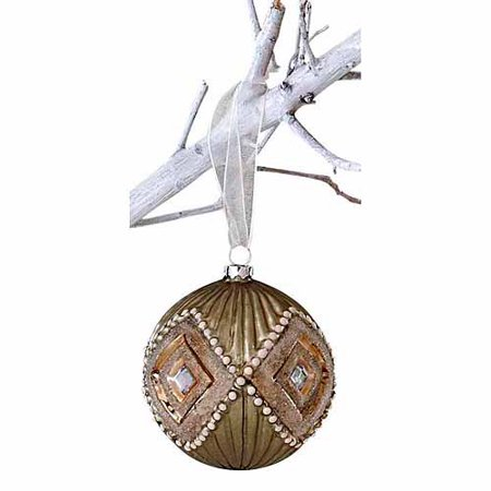 "Winter Sage Holiday Collection 3"" Diamond Pattern Glass Ball Christmas Ornament, 6-Pack"