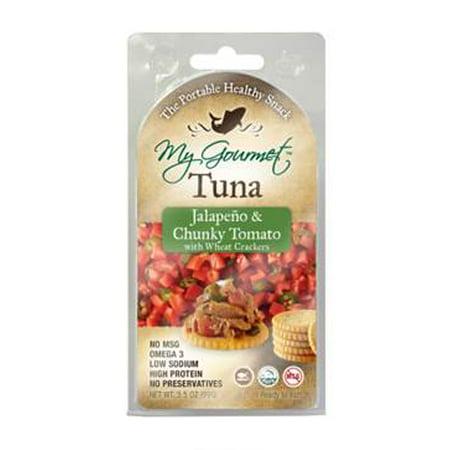 Tomato Jalapeno - My Gourmet 3.5 oz Tuna Jalapeno & Chunky Tomato Cookie with Wheat Cracker, 12 Count