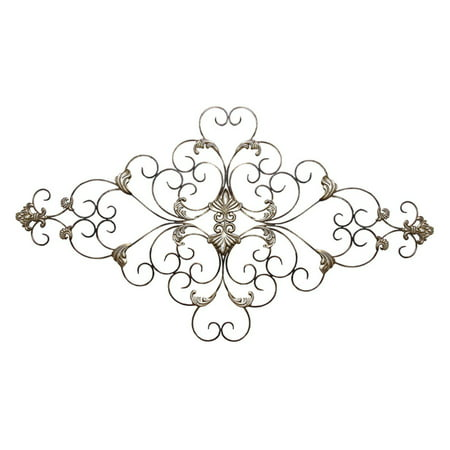 Stratton Home Decor Ornate Scroll Fleur de lis Metal Wall Décor ()