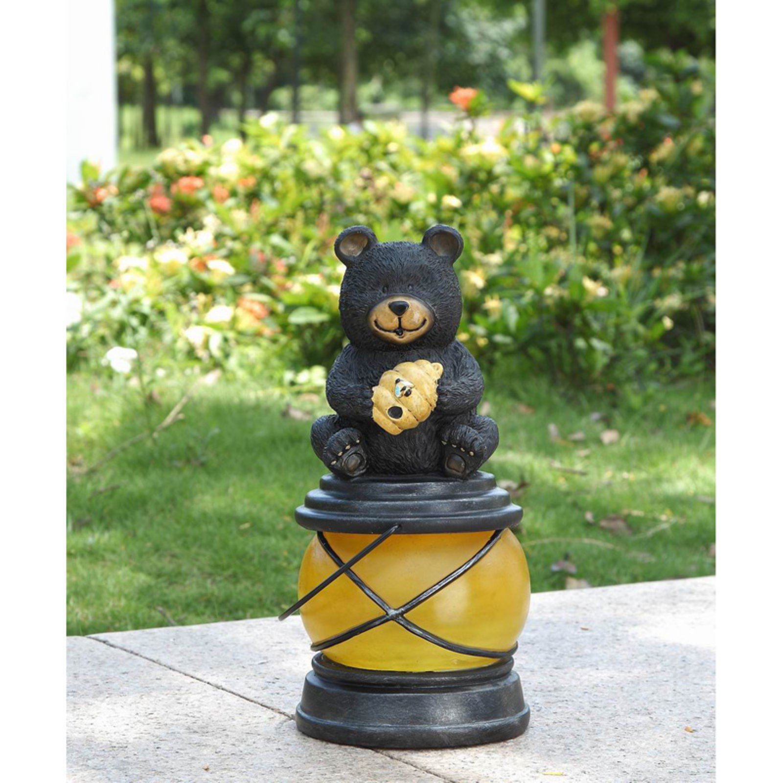 BEAR SITTING WITH HIVE & BEE ON A SOLAR LANTERN