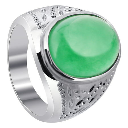Gem Avenue Men's Silver Plated on Copper Oval Green Gemstone Ring