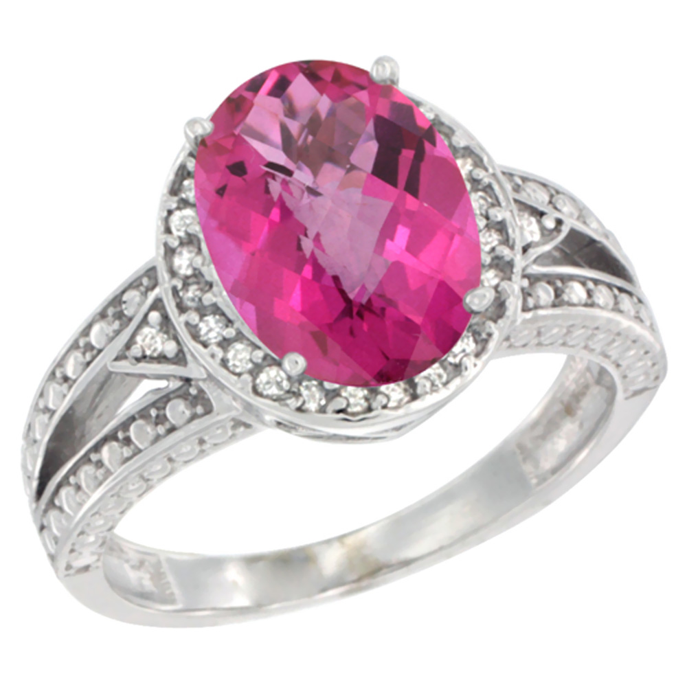 14K White Gold Natural Pink Topaz Ring Oval 9x7 mm Diamond Halo ...