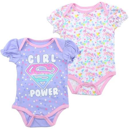 DC Comics Baby Girls' Supergirl Creeper 2-Pack