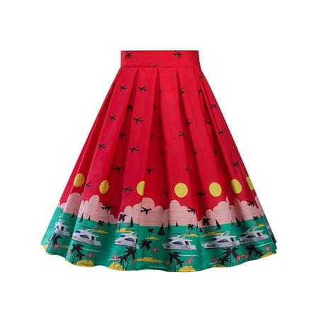 ed0bbd1fc Sexydance - Women Hepburn Print Midi Waist Vintage Skater Flared Pleated  Swing Long Midi Skirt Dress - Walmart.com