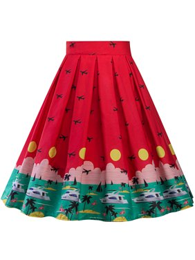 9051e7c288 Product Image Women Hepburn Print Midi Waist Vintage Skater Flared Pleated  Swing Long Midi Skirt Dress