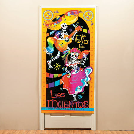 Fun Express - Dia De Los Muertos Door Cover for Halloween - Party Decor - Door Decor - Door Covers - Halloween - 1 Piece - Creative Halloween Door Designs