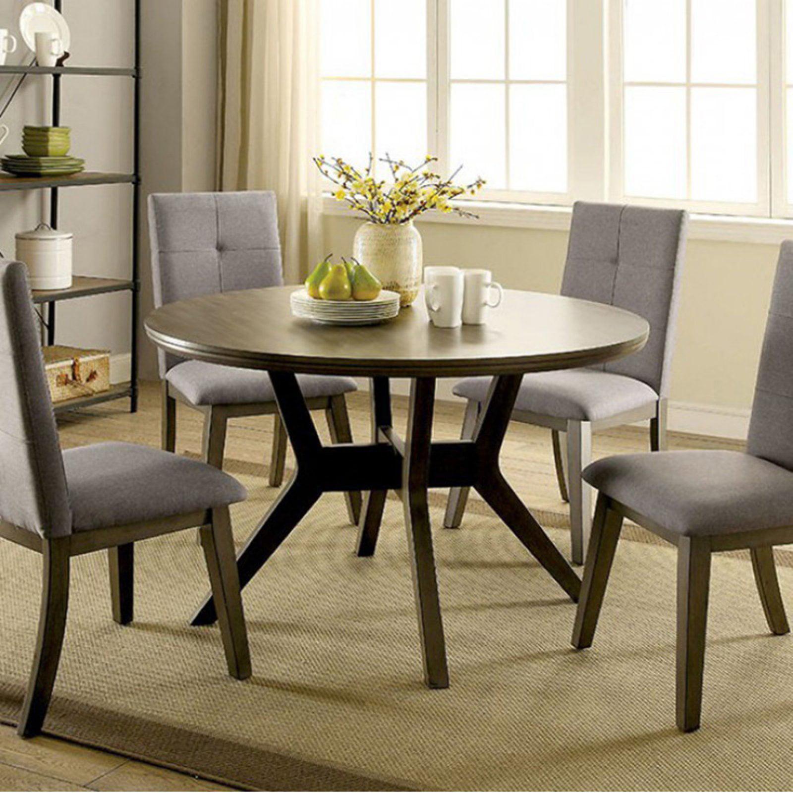 Abelone Mid-Century Modern Round Dining Table, Gray