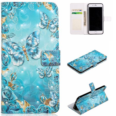 Embossed Card Case - iPhone 6 Plus Case Wallet, iPhone 6S Plus Case, Allytech 3D Emboss Leather Protective Cover & Credit Card Pocket, Support Kickstand Slim Case for Apple iPhone 6 Plus 6S Plus (Blue Butterfly)