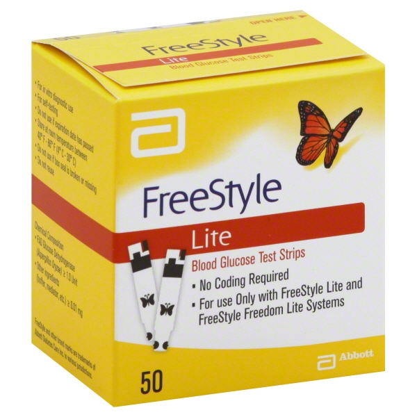 FreeStyle Lite Blood Glucose Test Strips, 50 Ct