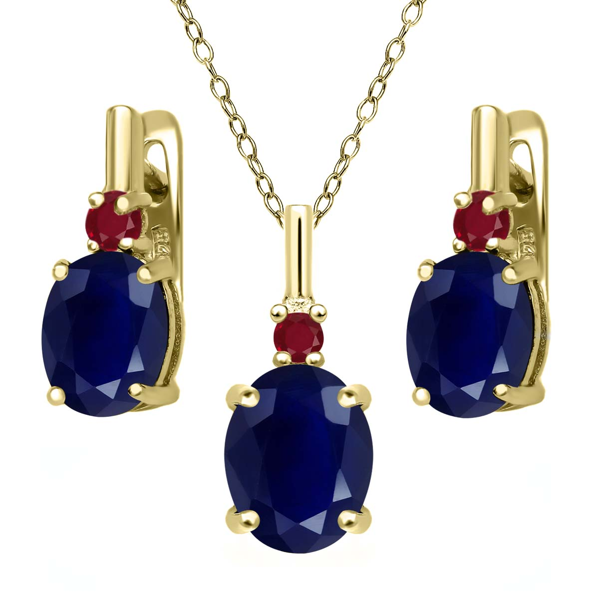 7.62 Ct Blue Sapphire Red Ruby 18K Yellow Gold Plated Silver Pendant Earrings Set by