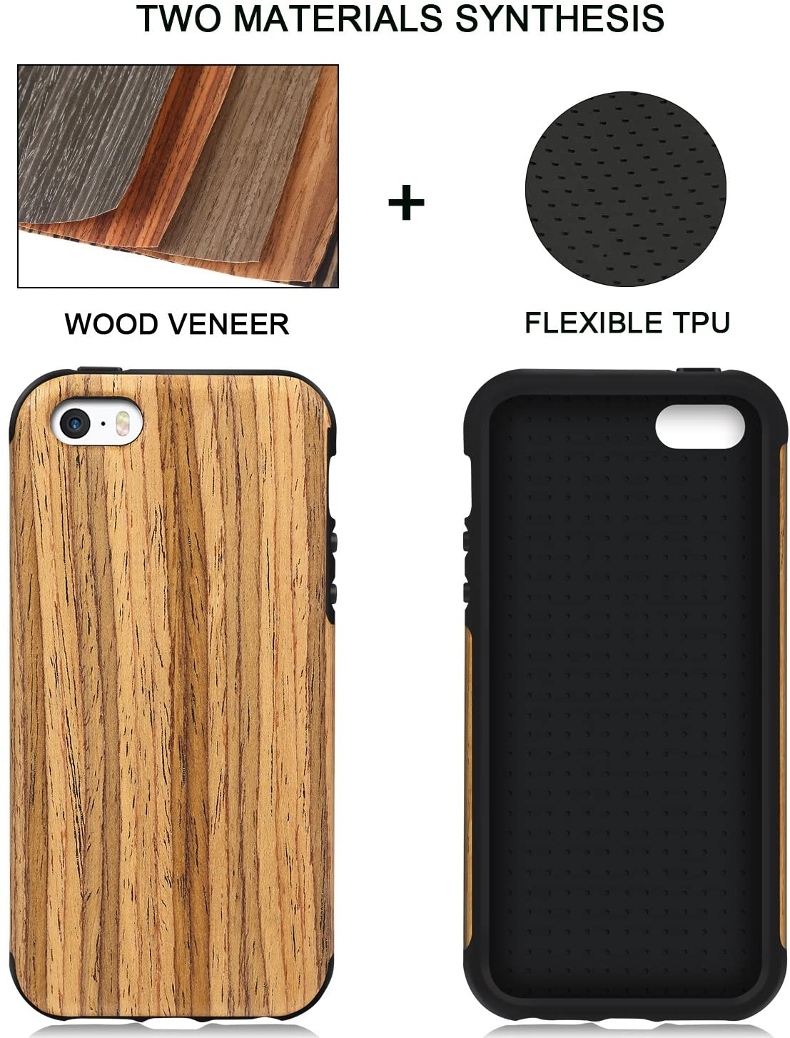 TENDLIN iPhone SE Case Wood Veneer Flexible TPU Silicone Hybrid Good Protection Case for iPhone SE and iPhone 5S 5