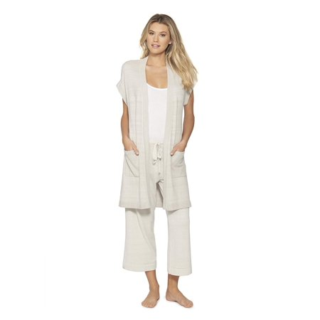 Barefoot Dreams Women's CozyChic Ultra Lite Sleeveless Long Cardigan, Fog Gray,