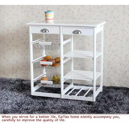 Kitchen & Dining Room Cart 2-Drawer 3-Basket 3-Shelf Storage Rack with  Rolling Wheels White