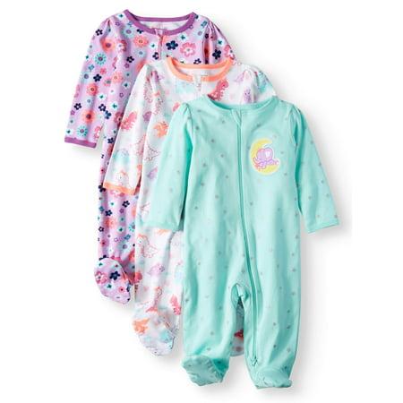9ab00ba7c Garanimals - Garanimals Baby Girls' Inverted Zipper Sleep 'N Play, 3-Pack -  Walmart.com