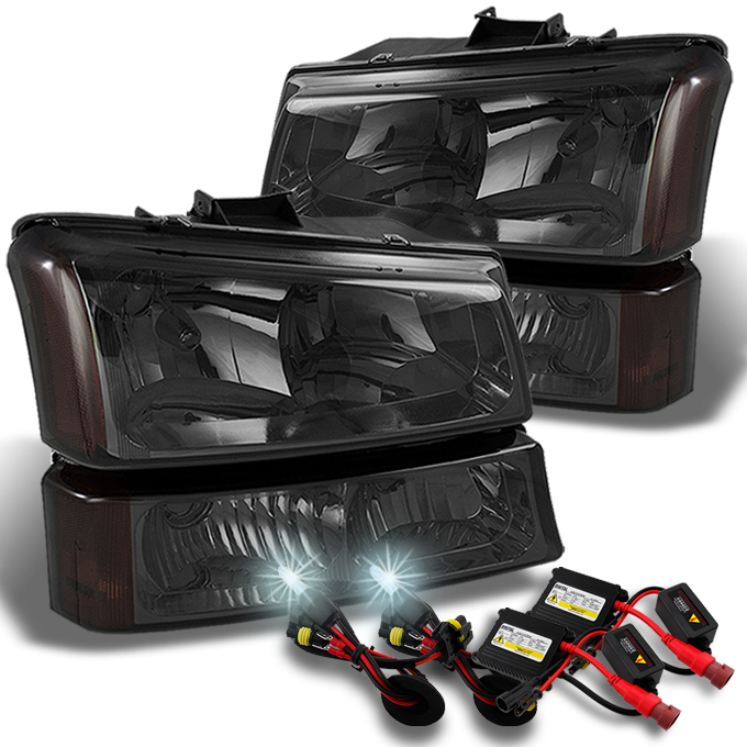 Fits 03-06 Silverado Smoked Headlights + Bumper Signal + Slim Ballast 6K HID Kit