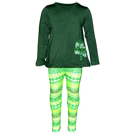 - Girls Lucky Clover Embroidery 2 Piece St Patricks Day Outfit (2t)
