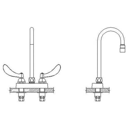 Delta 27C4924-R7 Commercial Double Handle Ceramic Disc Lavatory Faucet with Gooseneck Spout and Vandal Resistant Blade Handles, Chrome