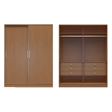 Painted Wide Armoire - Manhattan Comfort Chelsea 2.0 - 70.07 in. Wide Armoire with 6 Drawers and 2 Sliding Doors