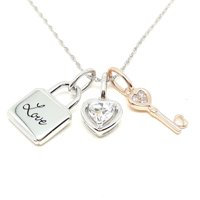 Sterling Silver 14K Gold Plated Diamond Heart and Key Charms Pendant
