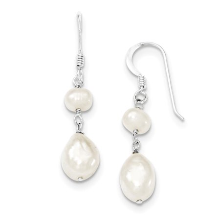 Sterling Silver Polished FW Cultured Pearl Dangle Hook Earrings 10mm x 40mm