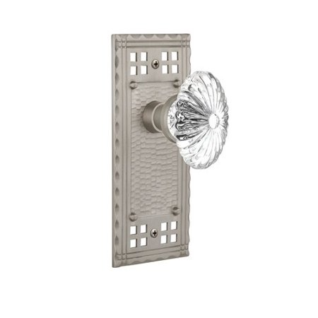 Nostalgic Warehouse Oval Fluted Crystal Glass Double Dummy Door Knob with Craftsman (Crystal Dummy Knob)
