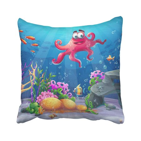 BPBOP Blue Beautiful Octopus Coral And Colorful Reefs And Algae On Sand Of Sea Landscape Red Pillowcase Throw Pillow Cover 16x16