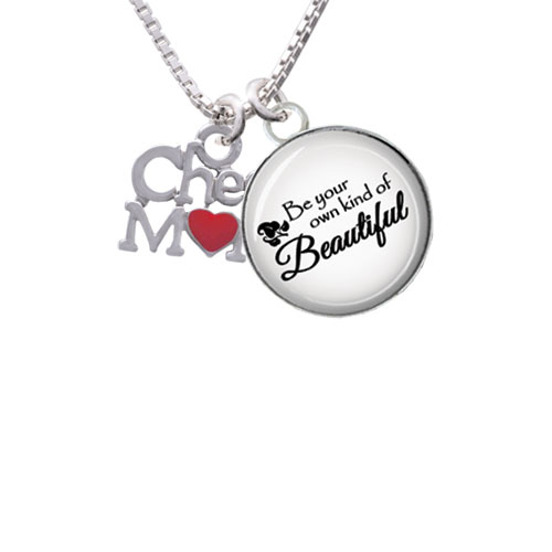 """Cheer Mom with Red Heart Be Your Own Beautiful Glass Dome Necklace, 18""""+2"""""""
