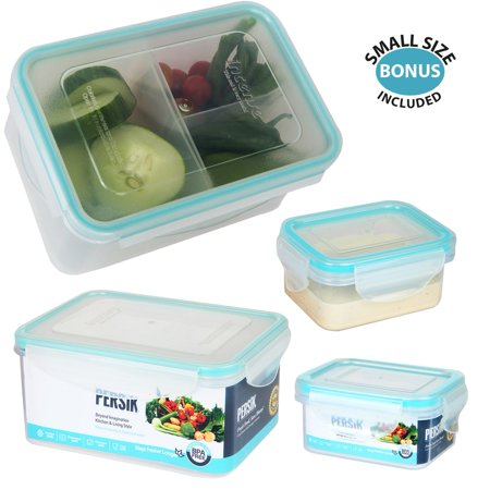 Persik Leak Proof Lunch Box Containers - 37 oz. (1.1 L) Bento Meal Prep Containers with 3 Divided Removable Compartment Portion Control + PLUS BONUS + 5 oz. (150 ml) Snack/Soup Food storage Container - Plus Size Halloween Costume Stores