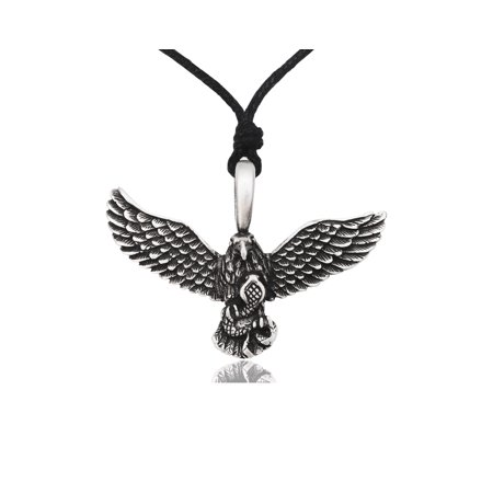 Eagle Hawk Catching Snake Silver Pewter Charm Necklace Pendant Jewelry With Cotton Cord