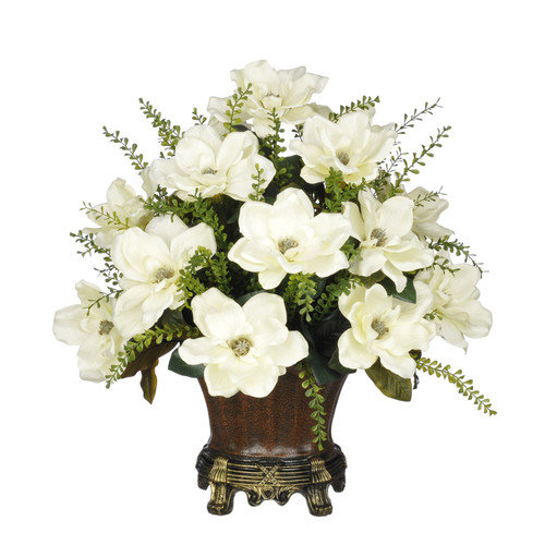 House of Silk Flowers Inc. Artificial Cream Magnolia with Mini Boxwood Leaves