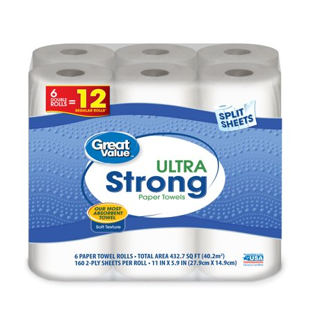 2 Ply Paper Towel Roll (Great Value Ultra Strong Paper Towels, Split Sheet, 6 Double Rolls)