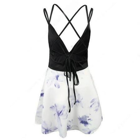 Women Floral Print Sling Dress Girls Backless Strap Dress Sexy V Neck - image 6 de 7
