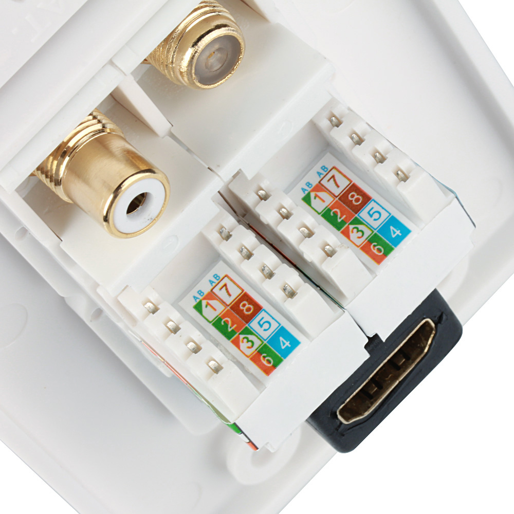 Coaxial Connector Ethernet Network Wall Plate RJ45 Jack Socket Outlet Panel