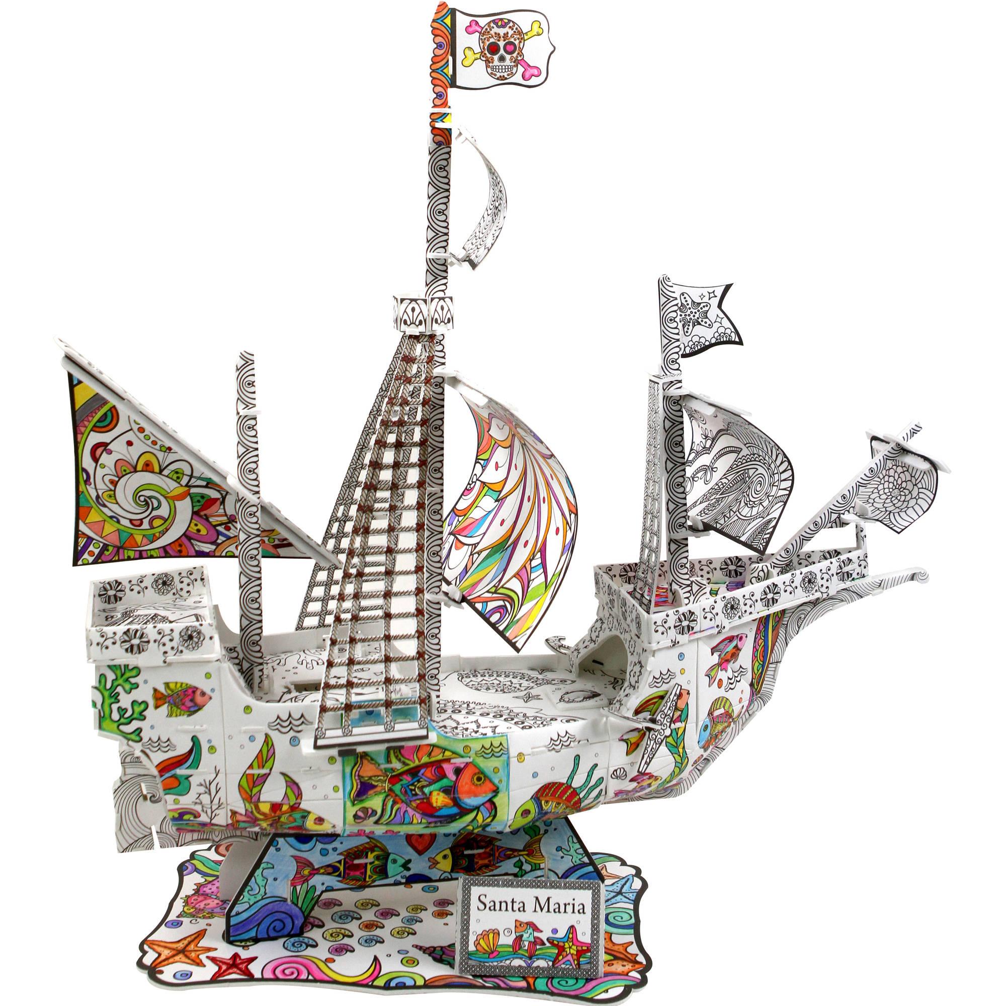 Image of Santa Maria Coloring 3D Puzzle, 102-Pieces