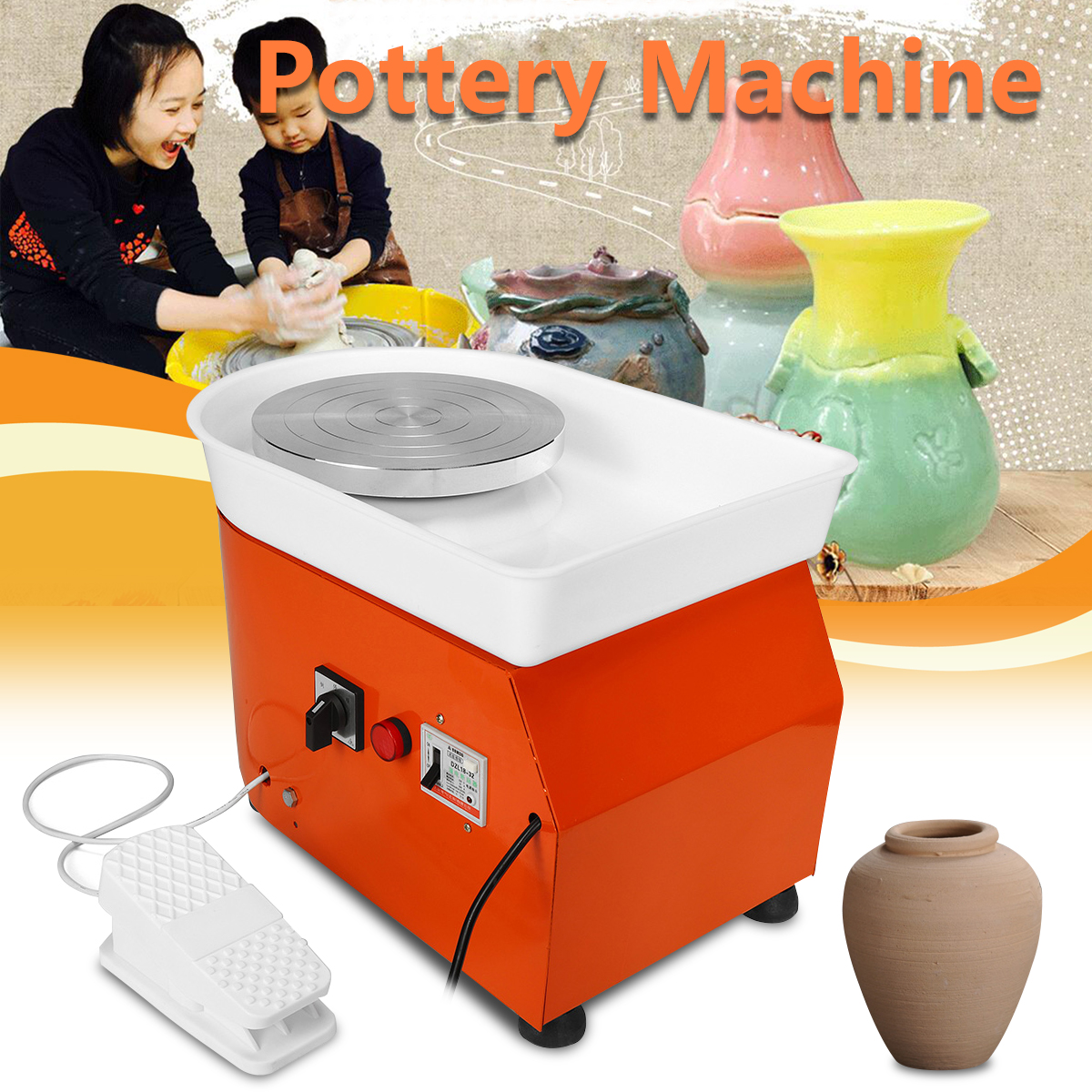 250W 0-300r/Min Inorganic Speed Electric Pottery Wheel Machine With Mobile Foot Pedal Ceramic DIY Tool Art Craft For Beginner Children Kids Toddlers Birthday Gifts Early Education