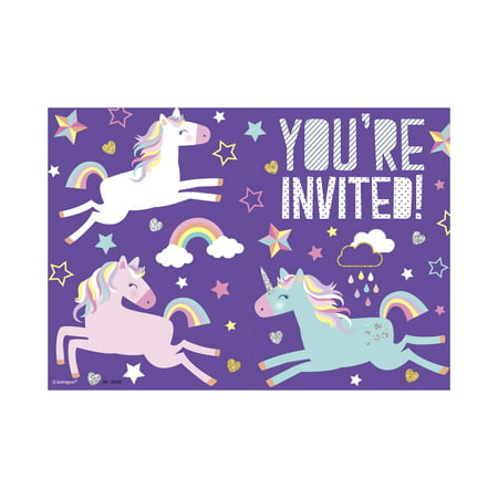 Unicorn Party Invitations, 8ct - Golden Ticket Birthday Invitation