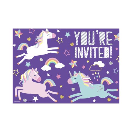 Unicorn Party Invitations, 8ct](Superhero Party Invitations)