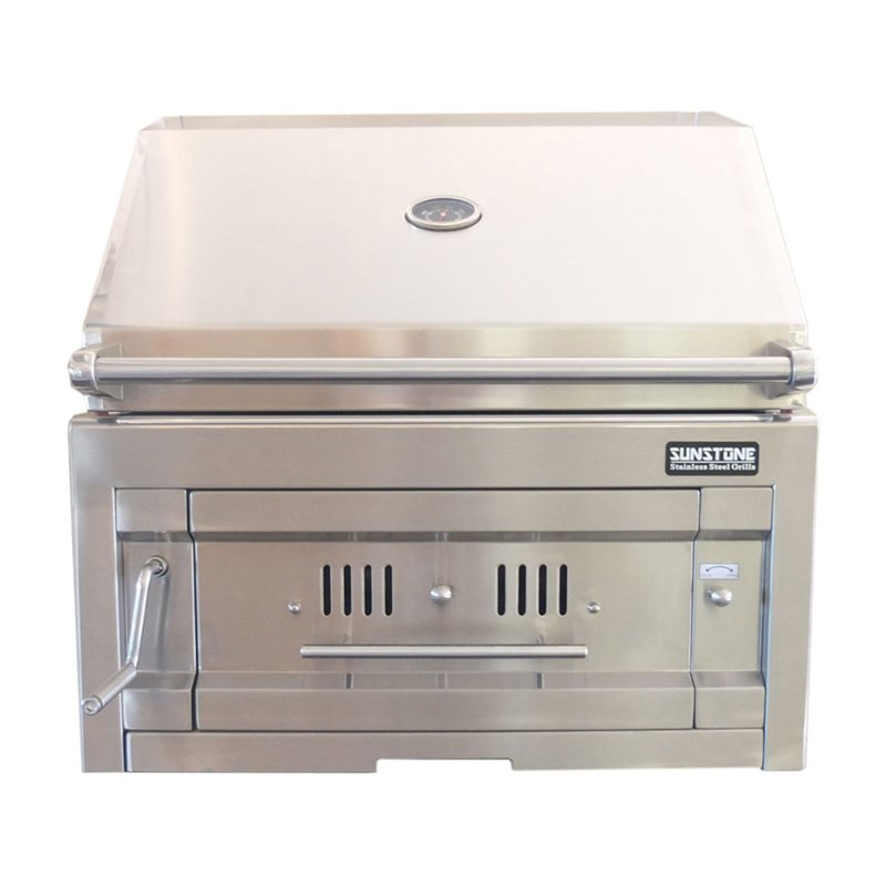Sunstone Grills 28 in. Dual Zone 304 Stainless Steel Charcoal Grill