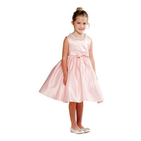 - Crayon Kids Little Girls Blush Pink Shiny Pearl Bow Detail Flower Girl Dress