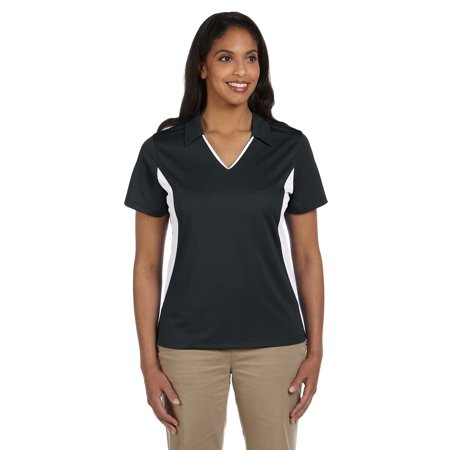 Branded Harriton Ladies Side Blocked Micro-Piqué Polo Shirt - BLACK/ WHITE - L (Instant Saving 5% & more on min 2)
