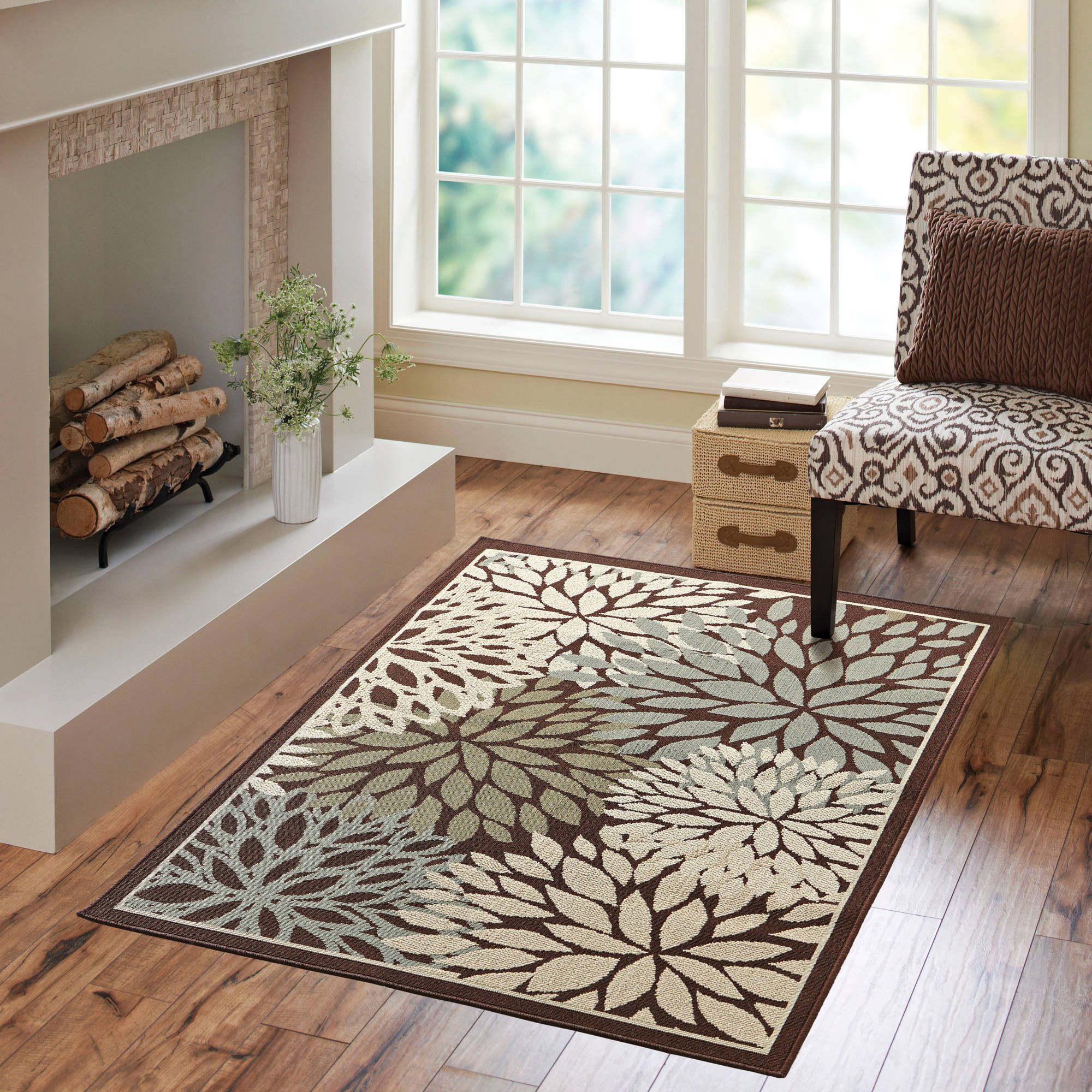Better Homes and Gardens Mixed Floral Rug, Dark Brown