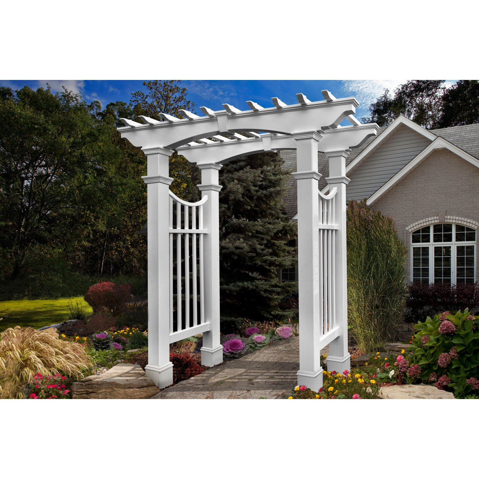 New England Arbors Devonshire 8-ft. Arbor with Trim Kit by New England Arbors