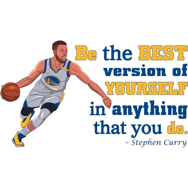 """Be The Best Version Of Yourself In Anything That You Do - 11"""" x 20"""" Inspirational B-Ball Quotes Decor Vinyl Home Bedroom Living Room Basketball Player Design Adhesive Wall Decal Sticker"""