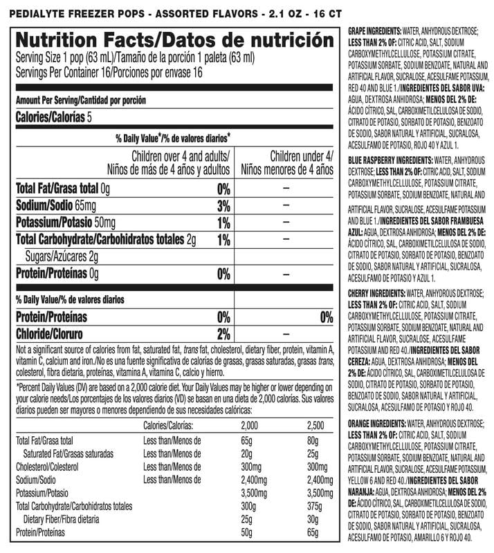 Pedialyte Popsicles Nutrition Info