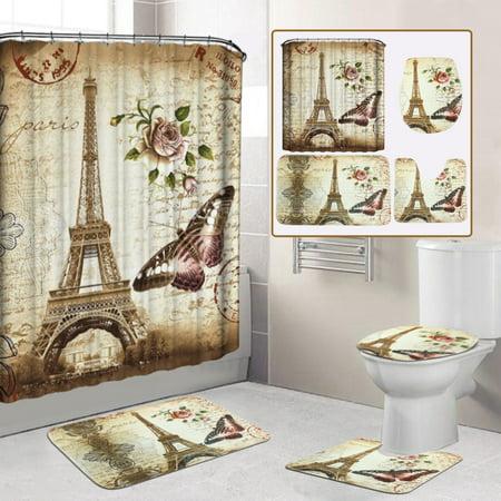 Eiffel Tower Shower Curtain with Hooks /3Pcs/set Flannel Pedestal Rug + Lid Toilet Cover + Non-Slip Bath Mat Doormat Home -