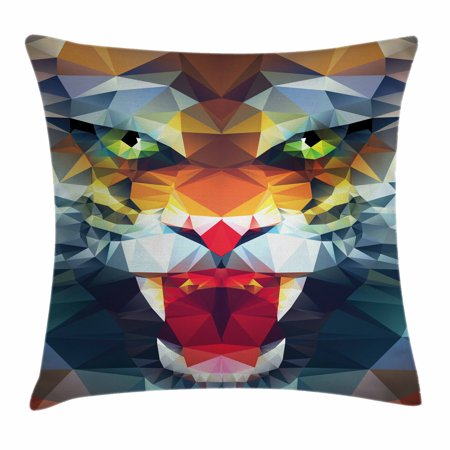 (Tiger Throw Pillow Cushion Cover, Portrait of Animal from Top of the Food Chain Polygonal Abstract Art Dangerous Beast, Decorative Square Accent Pillow Case, 16 X 16 Inches, Multicolor, by Ambesonne)