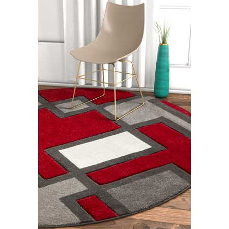 Abstract Boxes - Uptown Squares Red Grey Modern Geometric Comfy Casual Hand Carved 5 Round (5'3